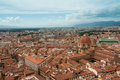 Florence city view aerial view of rooftops from bells tower in Royalty Free Stock Photos