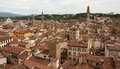 Florence city view from bells tower with santa croce palazzo aerial of Stock Images