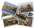 Florence collage of photos of tuscany italy isolated on the white background Stock Image