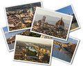 Florence collage of photos of tuscany italy isolated on the white background Stock Photos