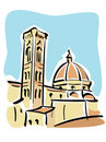 Florence (The Duomo and Giotto's bell tower) Royalty Free Stock Photo