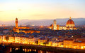 Florence at dusk skyline of colorful view from piazzale michelangelo Royalty Free Stock Images