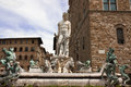 Florence famous fountain of neptune on piazza della signoria marble and bronze by bartolomeo ammannati in Stock Photography
