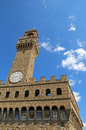 Florence Italy Old Palace called Palazzo Vecchio and clock tower Royalty Free Stock Photo