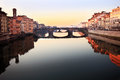 Florence italy river view along the at sunset Royalty Free Stock Images
