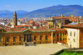 Florence italy skyline of the city and back view of palazzo pitti facing boboli gardens in Royalty Free Stock Image