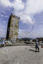 Florence medieval tower with bubble soap a day in most famous reinessance city Royalty Free Stock Photography