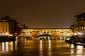 Florence night panorama old bridge tuscany italy Royalty Free Stock Photo