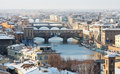 Florence Old Bridge or Ponte Vecchio in snow Royalty Free Stock Image
