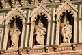 Florence particular of the cathedral sant maria of fiower bell tower statues Stock Photo