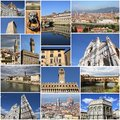 Florence photo collage from italy collage includes major landmarks like the cathedral ponte vecchio and palazzo vecchio Royalty Free Stock Photo