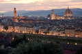 Florence skyline at sunset from piazzale michelangelo Royalty Free Stock Photo
