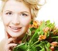 Flores cor de rosa amarelas brilhantes do fith da mulher Fotos de Stock Royalty Free