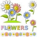 Flores felizes da face do smiley da mola Imagem de Stock