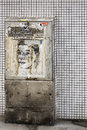 Florian p vienna austria march an electric box on a tiled wall with a drawing commemorating on march in vienna Royalty Free Stock Image
