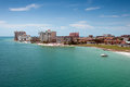 Florida coastline hotels with houses and Stock Image