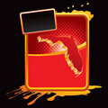 Florida icon on orange splattered advertisement Royalty Free Stock Photography
