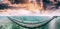 Florida Keys Bridge, beautiful sunset aerial view Royalty Free Stock Photo