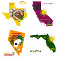 Florida Nevada, Texas and California Stock Image