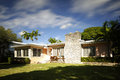 Florida single family house with blur motion in sky Royalty Free Stock Photo