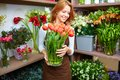 Florist corner portrait of young female with big vase of red tulips Royalty Free Stock Photography