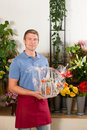 Florist in flower shop Royalty Free Stock Photography