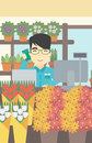 Florist at flower shop vector illustration. Royalty Free Stock Photo