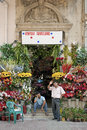 Florist and men in central baku azerbaijan Stock Photography