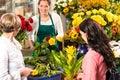 Florist woman preparing bouquet customers flower shop Royalty Free Stock Image