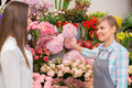 Florist at work time only freshest flowers our store talking to the customer surrounded by beautiful flowers Royalty Free Stock Image