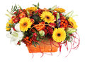 Floristic composition in basket, orange roses, yellow gerbera, w Royalty Free Stock Photo