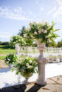 Floristics Decorations for the wedding ceremony. Flowers closeup. Royalty Free Stock Photo