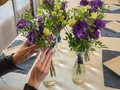 Floristry in the design of the restaurant. Royalty Free Stock Photo