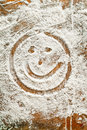 Flour Artwork With Food And Handprints Smiley Royalty Free Stock Photos