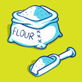 Flour bags blue series vector illustration of a bag and spoon Stock Image