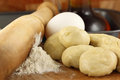 Flour dough with rolling pin close up Stock Photography