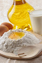 Flour, eggs, oil Stock Images