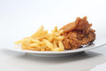 Flour fried chicken lunches Stock Photography