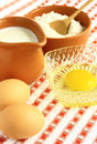 Flour, milk and eggs Royalty Free Stock Photography