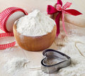 Flour on a wooden table. Royalty Free Stock Photo