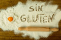 Flour with writted word SIN GLUTEN Royalty Free Stock Photo