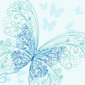 Flourish blue butterfly Stock Photo
