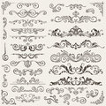 Flourish Border Corner and Frame Elements Collection. Vector Card Invitation . Victorian Grunge Calligraphic. Wedding