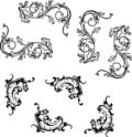 Flourish curvy corner elements Royalty Free Stock Photos