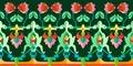 Flourish heraldic border with roses and geometric elements.