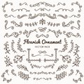 Flourish ornaments calligraphic design elements vector set illus Royalty Free Stock Photo