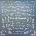 Flourish ornaments calligraphic design elements vector set illus Royalty Free Stock Photo