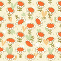 Flourish seamless drawn pattern camomiles delicate texture daisy bright background with spring flowers poppies Stock Photos