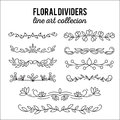 Flourishes. Dividers set. Line style decoration. Ornamental decorative elements. Vector ornate elements design.