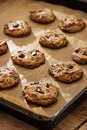 Flourless erdnussbutter schokolade chip cookies on baking sheet Lizenzfreies Stockfoto